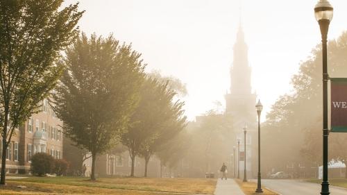A misty campus scene