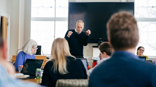 "Marcelo Gleiser answers questions during a ""study hall"""