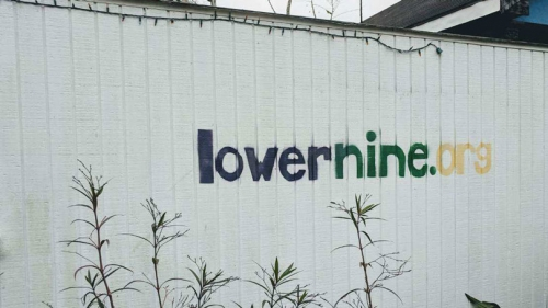 lowernine.org painted on a fence