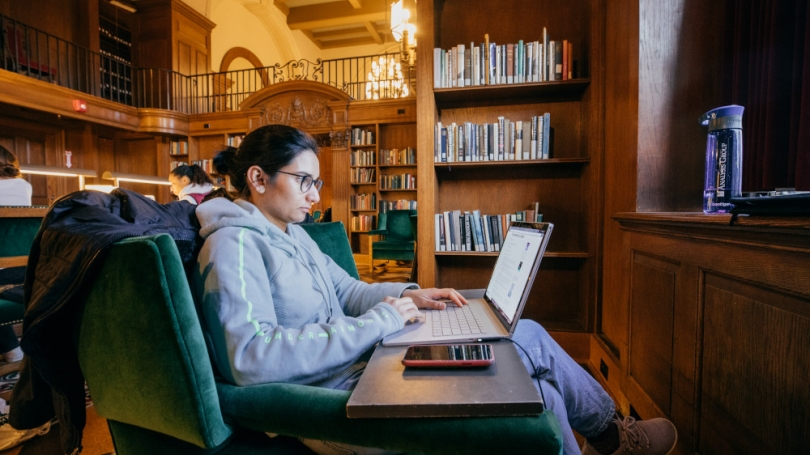 Student studying in the Tower Room