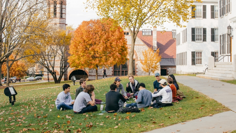 Students taking class outside