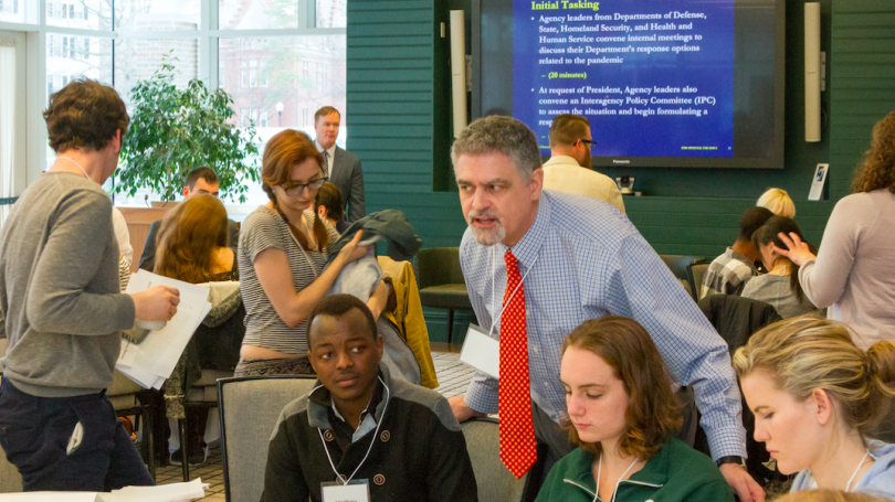 Students engage in the Dickey Center's summer '16 Global Tempest Exercise, a tabletop simulation that provided the opportunity to examine the range of public and private sector responses and domestic implications to a global influenza pandemic.